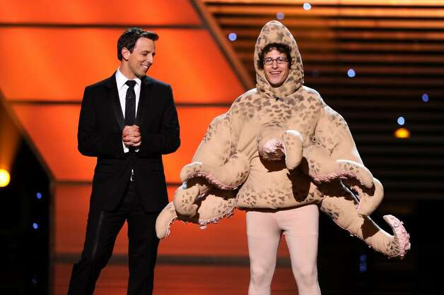 LOS ANGELES, CA - JULY 14:  Host Seth Meyers and actor Andy Samberg onstage during the 2010 ESPY Awards at Nokia Theatre L.A. Live on July 14, 2010 in Los Angeles, California.  (Photo by Kevin Winter/Getty Images) *** Local Caption *** Seth Meyers;Andy Samberg Photo: Kevin Winter, Getty Images / 2010 Getty Images