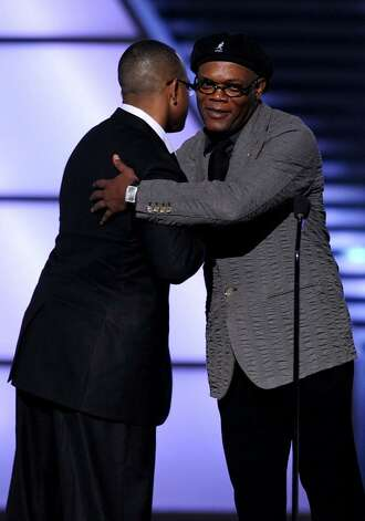 LOS ANGELES, CA - JULY 14:  Actor Samuel L. Jackson (R) hugs Stewart Scott onstage during the 2010 ESPY Awards at Nokia Theatre L.A. Live on July 14, 2010 in Los Angeles, California.  (Photo by Kevin Winter/Getty Images) *** Local Caption *** Stewart Scott;Samuel L. Jackson Photo: Kevin Winter, Getty Images / 2010 Getty Images
