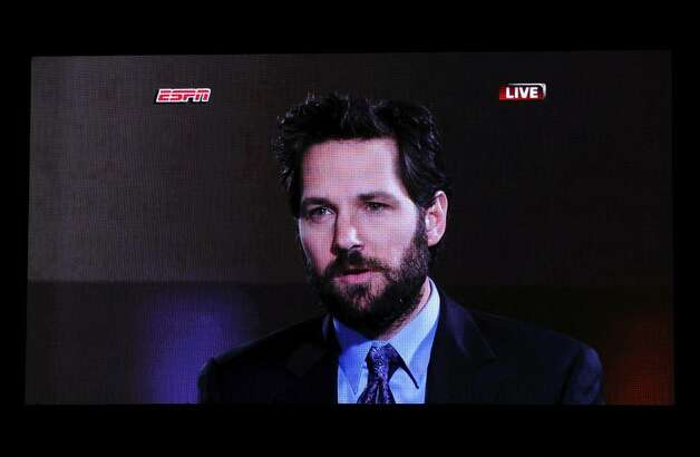 LOS ANGELES, CA - JULY 14:  Actor Paul Rudd speaks onscreen during the 2010 ESPY Awards at Nokia Theatre L.A. Live on July 14, 2010 in Los Angeles, California.  (Photo by Kevin Winter/Getty Images) Photo: Kevin Winter, Getty Images / 2010 Getty Images