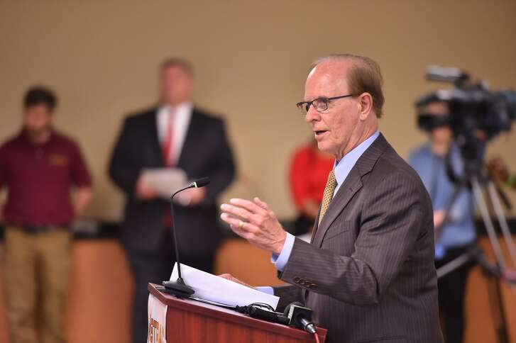 Bexar County Judge Nelson Wolff speaks as a new collaboration was unveiled at the South Texas Regional Advisory Council headquarters in August. Wolff, seeking his fifth term as county judge, faces Republican Tom Rickhoff in the Nov. 6 elections.