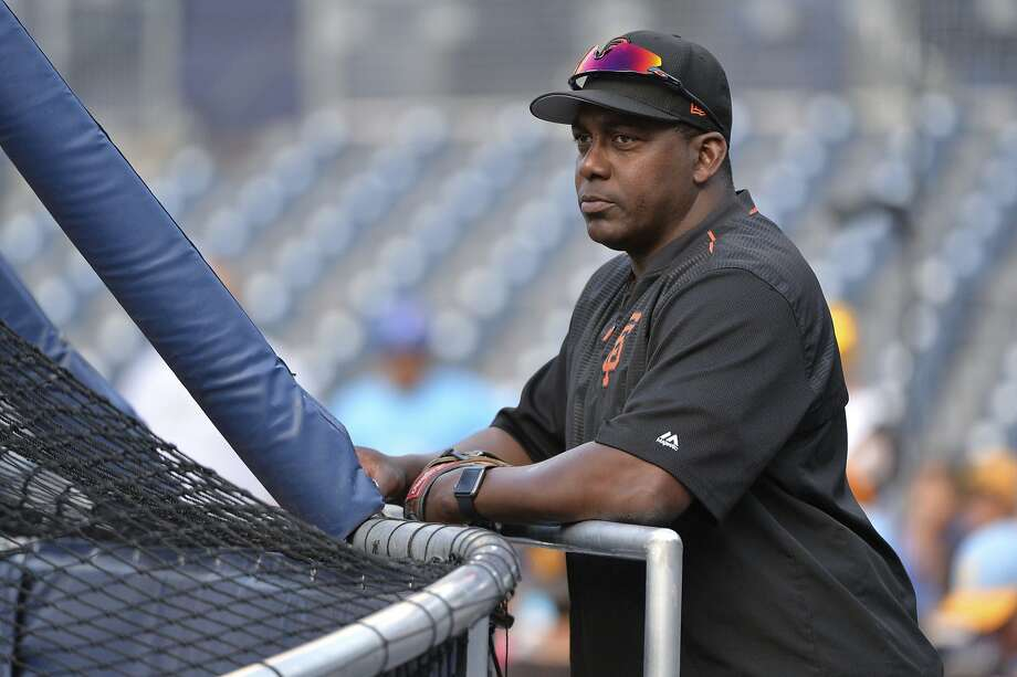 FILE - In this Aug. 28, 2017, file photo, San Francisco Giants bench coach Hensley Meulens takes in batting practice before the team's baseball game against the San Diego Padres in San Diego.  Photo: Orlando Ramirez / Associated Press