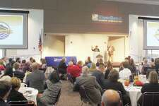 Monica Bristow, past president of the RiverBend Growth Association, speaks during the 2017 State of the RiverBend luncheon, held Thursday at Lewis and Clark Community College.