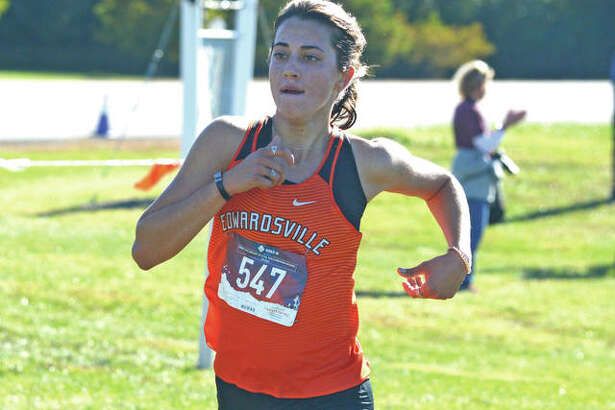 Edwardsville senior Maddie Miller heads toward the finish line during Saturday's Class 3A Edwardsville Regional at SIUE.