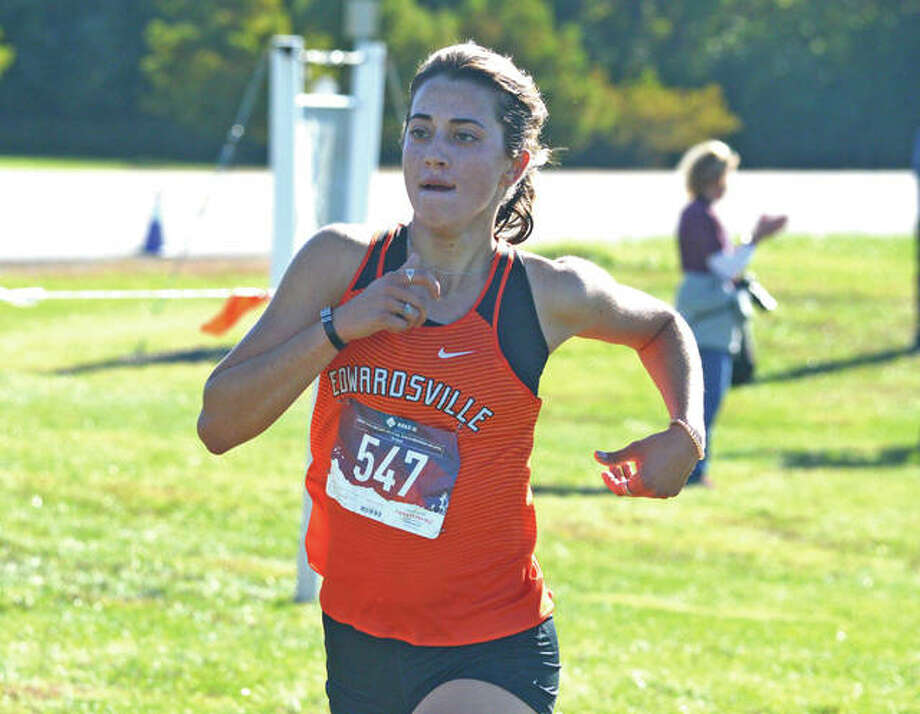 Edwardsville senior Maddie Miller heads toward the finish line during Saturday's Class 3A Edwardsville Regional at SIUE. Photo: Scott Marion/Intelligencer