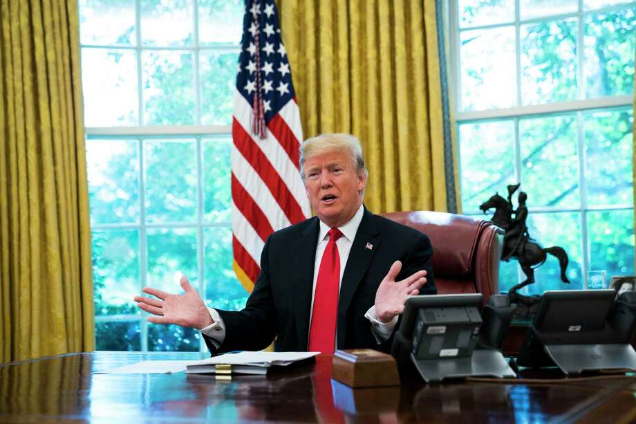 President Donald Trump during an interview in the Oval Office of the White House in Washington, Oct. 18, 2018. President Trump said on Thursday that he believes the Saudi journalist Jamal Khashoggi is dead, and he expressed confidence in intelligence reports from multiple sources that strongly suggest a high-level Saudi role in Khashoggi's assassination. (Doug Mills/The New York Times) Photo: DOUG MILLS / NYTNS