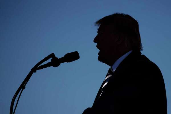 President Donald Trump speaks at Elko Regional Airport, Saturday, Oct. 20, 2018, in Elko, Nv., during a campaign rally.