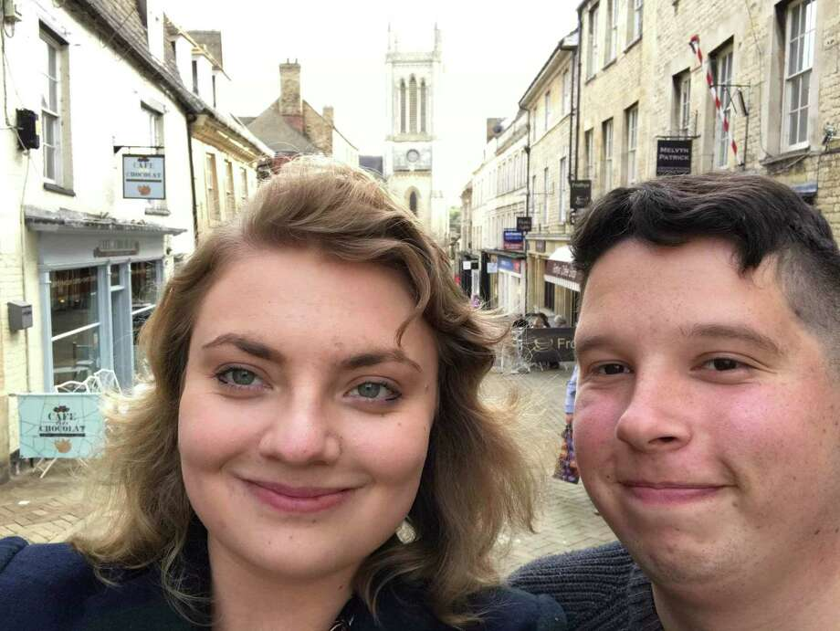 Steve Kolenberg, a representative for the City of Stamford, with his girlfriend Ellen in her hometown of Stamford, England. Photo: Bob Luckey Jr. / Hearst Connecticut Media / Greenwich Time