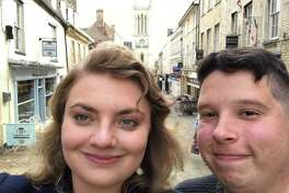 Steve Kolenberg, a representative for the City of Stamford, with his girlfriend Ellen in her hometown of Stamford, England.