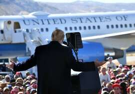 "US President Donald Trump addresses a ""Make America Great Again"" rally at Elko Regional Airport in Elko, Nevada, October 20, 2018. (Photo by Nicholas Kamm / AFP)NICHOLAS KAMM/AFP/Getty Images"