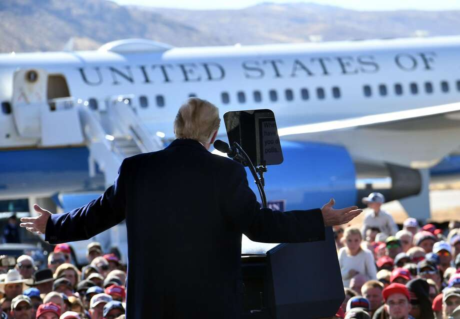 President Trump campaigns for Republican Sen. Dean Heller at a rally on the tarmac of Elko Regional Airport. Photo: Nicholas Kamm / AFP / Getty Images