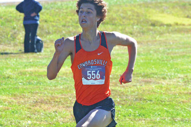 Edwardsville senior Max Hartmann heads toward the finish line during Saturday's Class 3A Edwardsville Regional at SIUE.