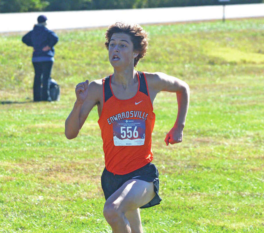 Edwardsville senior Max Hartmann heads toward the finish line during Saturday's Class 3A Edwardsville Regional at SIUE. Photo: Scott Marion/Intelligencer