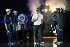 UConn head coach Geno Auriemma during the annual First Night celebration, in Storrs on Oct. 12. Auriemma recently weighed in about the corruption that is plaguing college basketball.