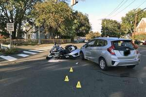 A crash in Norwalk, Conn., on Oct. 20, 2018, involving a Norwalk police officer. The blurring out of the car's licence plate was done by police, not Hearst Connecticut Media.