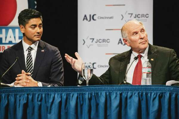 Democrat Aftab Pureval, left, is challenging Rep. Steve Chabot, R, in the race for Ohio's 1st District.