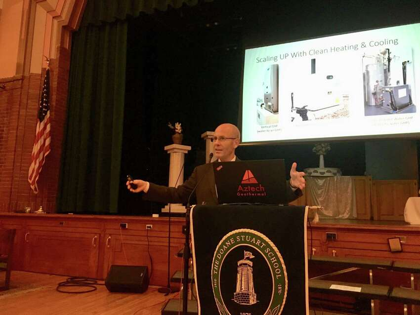 Jay Egg, a geothermal expert, gives the keynote speech at the Renewable Energy and Sustainable Living Fair at the Doane Stuart School in Rensselaer on Oct. 20.