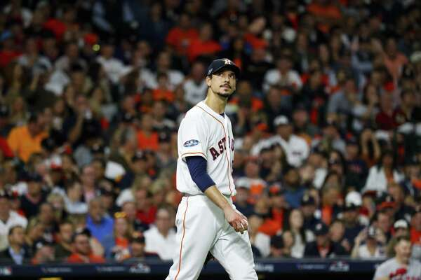 Houston Astros starting pitcher Charlie Morton (50) reacts after throwing a pitch during the first inning of Game 4 of the American League Championship Series at Minute Maid Park on Wednesday, Oct. 17, 2018, in Houston.