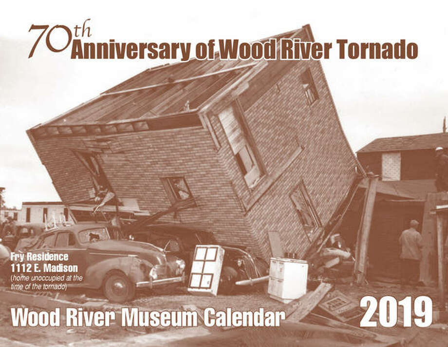 A proof of the cover of the 2019 Wood River Museum Calendar, highlighting the 70th anniversary of the tornado that tore through the town. Photo: For The Telegraph