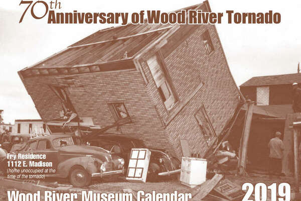 A proof of the cover of the 2019 Wood River Museum Calendar, highlighting the 70th anniversary of the tornado that tore through the town.