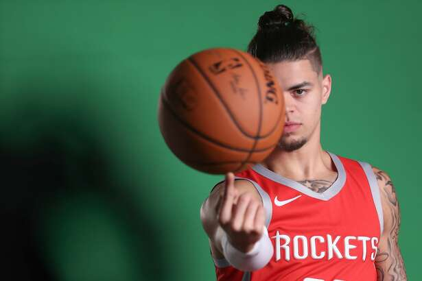 Houston Rockets guard Rob Gray (32) spins the ball on his finger during their Media Day at the Post Oak Hotel Monday, Sept. 24, 2018, in Houston.