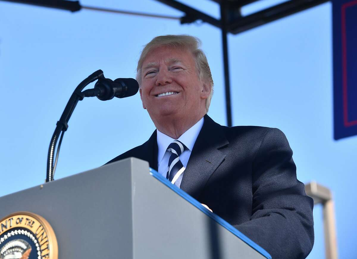 "US President Donald Trump addresses a ""Make America Great Again"" rally at Elko Regional Airport in Elko, Nevada, October 20, 2018."