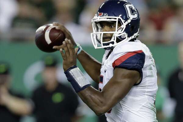 UConn quarterback David Pindell throws a pass against South Florida during the first half Saturday in Tampa, Fla.