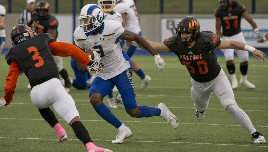 Angelo State's Keke Chism tries to cut back to get away from UTPB's Sebastian Gonzales as Marquis Davenport closes in to help make a stop 10/20/18 at Grande Communications Stadium. Tim Fischer/Reporter-Telegram Photo: Tim Fischer/Midland Reporter-Telegram