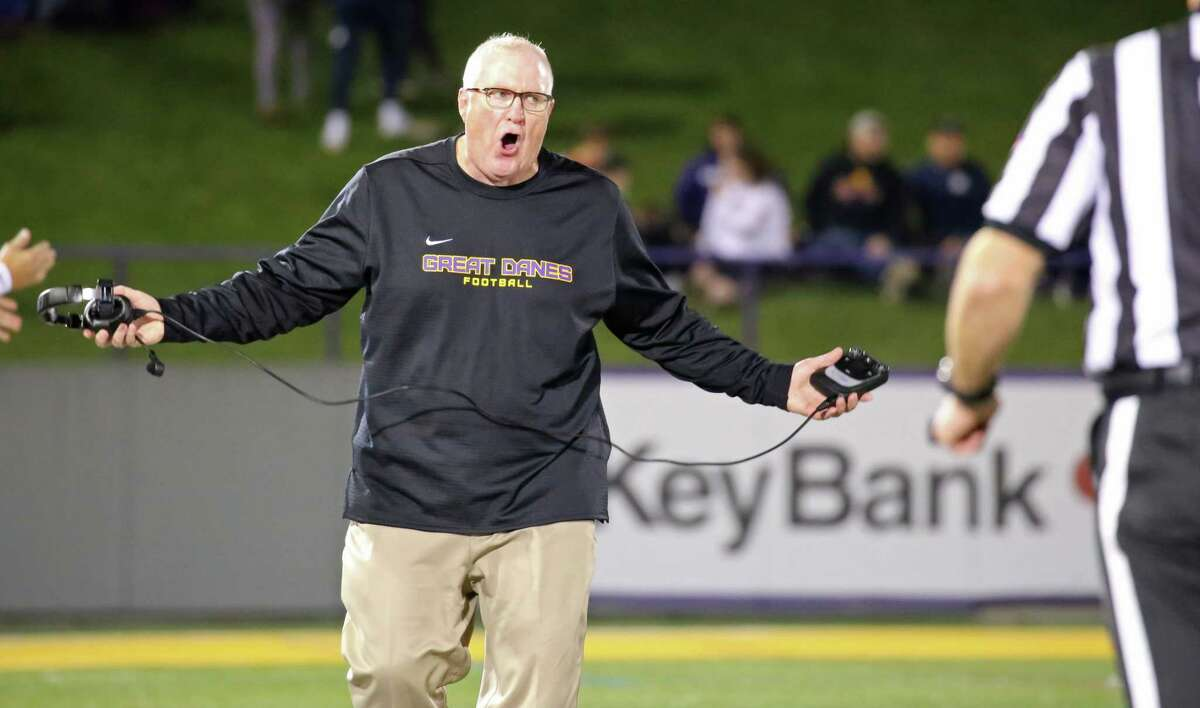 UAlbany coach Greg Gattuso disputes a call during the Danes' game against Towson on Saturday, Oct. 20, 2018. (Thomas Palmer / Times Union)