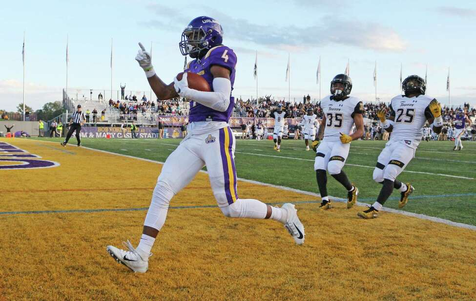 UAlbany's Juwan Green celebrates his first-quarter touchdown during UAlbany's game against Towson on Saturday, Oct. 20, 2018. (Thomas Palmer / Times Union)
