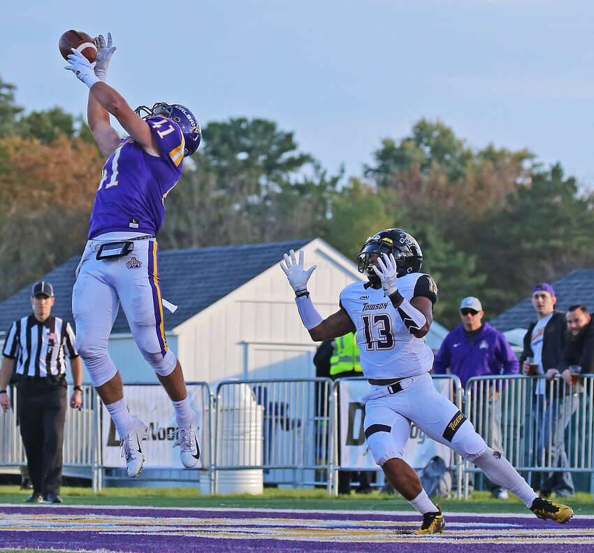 UAlbany safety AJ Mistler picks off a pass during the Danes' game against Towson on Saturday, Oct. 20, 2018. (Thomas Palmer / Times Union)