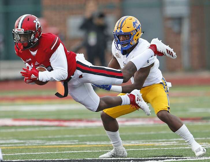 UIW's Malick Phillips intercepts a pass intended McNeese's Cyron Sutton on Saturday October 20, 2018