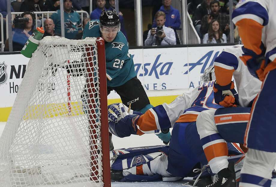 Sharks right wing Timo Meier scores a goal past Islanders goaltender Robin Lehner in the first period Saturday. The goal was Meier's fourth of the season, the second-best total on the team. Photo: Jeff Chiu / Associated Press