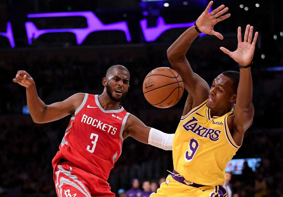 LOS ANGELES, CA - OCTOBER 20:  Chris Paul #3 of the Houston Rockets reacts to a foul from Rajon Rondo #9 of the Los Angeles Lakers during the second quarter at Staples Center on October 20, 2018 in Los Angeles, California.  (Photo by Harry How/Getty Images) Photo: Harry How/Getty Images