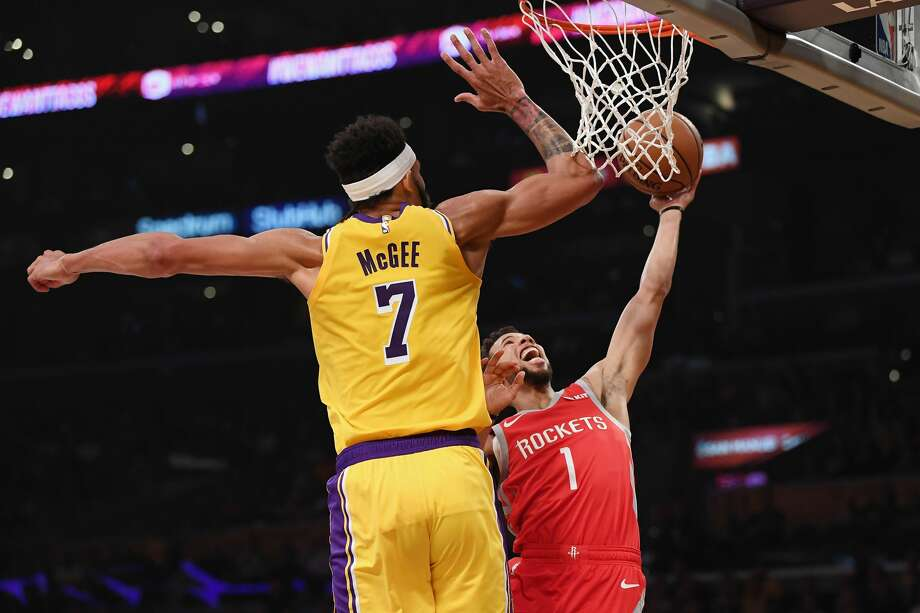 PHOTOS: Rockets vs. Clippers  LOS ANGELES, CA - OCTOBER 20:  Michael Carter-Williams #1 of the Houston Rockets drives to the basket against JaVale McGee #7 of the Los Angeles Lakers during the first quarter at Staples Center on October 20, 2018 in Los Angeles, California.  (Photo by Harry How/Getty Images) >>>See photos of the Rockets in action against the Clippers ...  Photo: Harry How/Getty Images