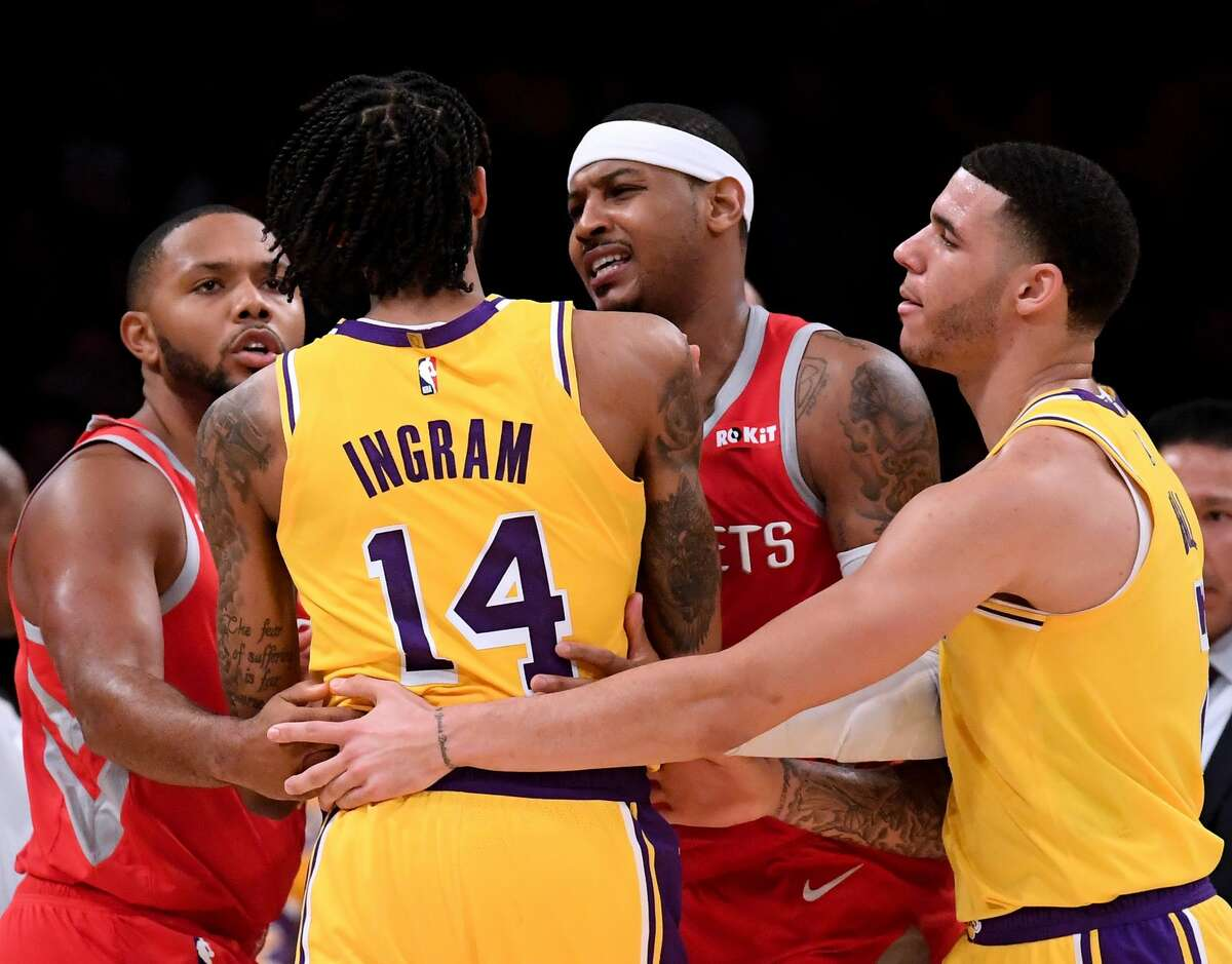 Oct. 20: Rockets 124, Lakers 115 Anthony finished with 7 points and 10 rebounds, but shot just 1-of-7 from the 3-point line. He did have a plus-minus of plus-23 in his 29 minutes. He also helped cool down the Chris Paul-Rajon Rondo fight.