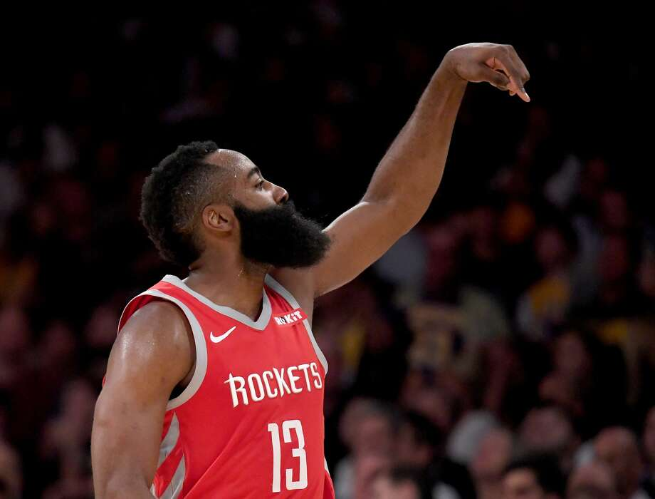 LOS ANGELES, CA - OCTOBER 20:  James Harden #13 of the Houston Rockets reacts to his three pointer late in the game leading to a 124-115 victory over the Los Angeles Lakers at Staples Center on October 20, 2018 in Los Angeles, California.  (Photo by Harry How/Getty Images) Photo: Harry How/Getty Images