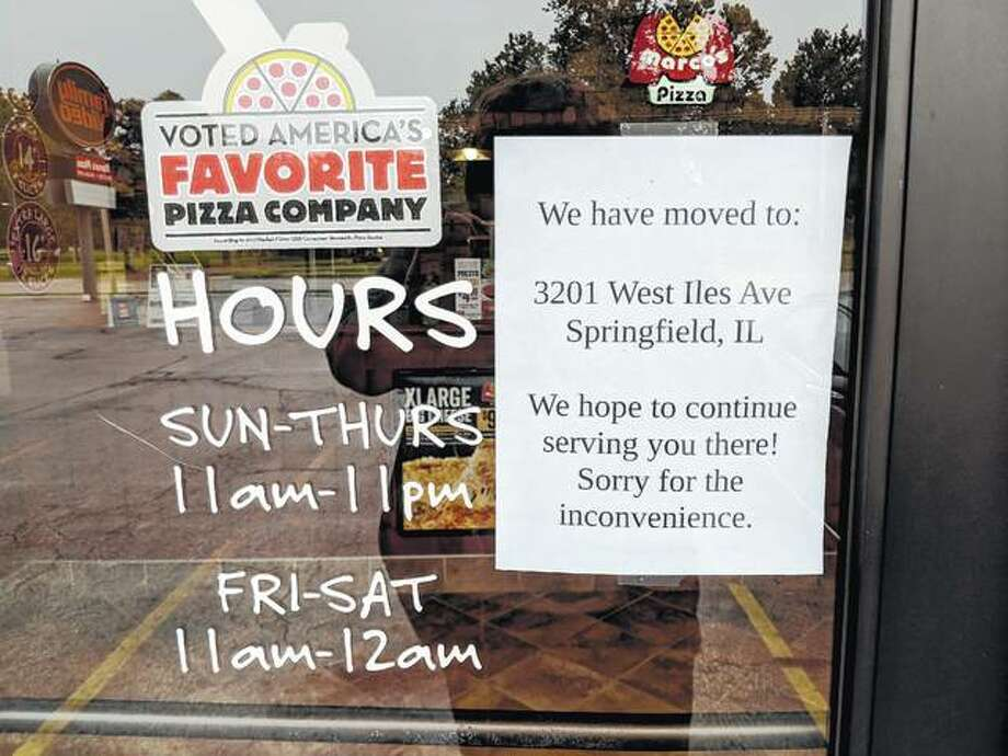 A note on the door at Jacksonville's Marco's Pizza indicates the store has closed. Photo: Nick Draper | Journal-Courier