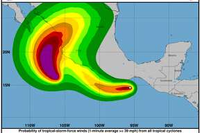 Hurricane Willa was rapidly intensifying Sunday, Oct. 21, 2018, while Tropical Storm Vicente was moving well off the Pacific coast of Mexico.