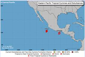 At least one Pacific storm is expected to sweep northeast next week and is likely to impact South Texas. Hurricane Willa was rapidly intensifying Sunday, Oct. 21, 2018, while Tropical Storm Vicente was moving well off the Pacific coast of Mexico.