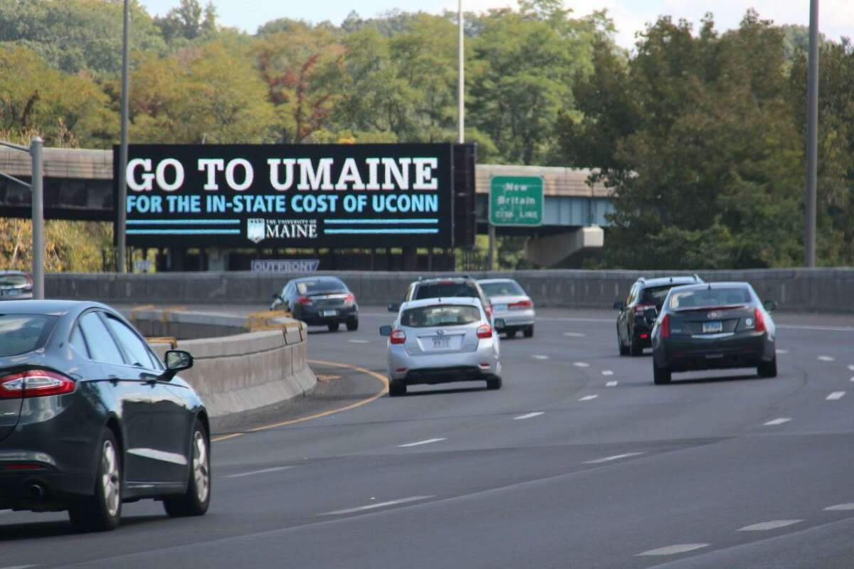 Billboard advertising purchased by the University of Maine looks to recruit Connecticut students to apply to the Orono-based school's Flagship Match Program. The program allows Connecticut students to attend the University of Maine at the same price they would pay to go to the University of Connecticut as an in-state student. The billboard shown here was along Interstate 84 in West Hartford during the fall of 2017.