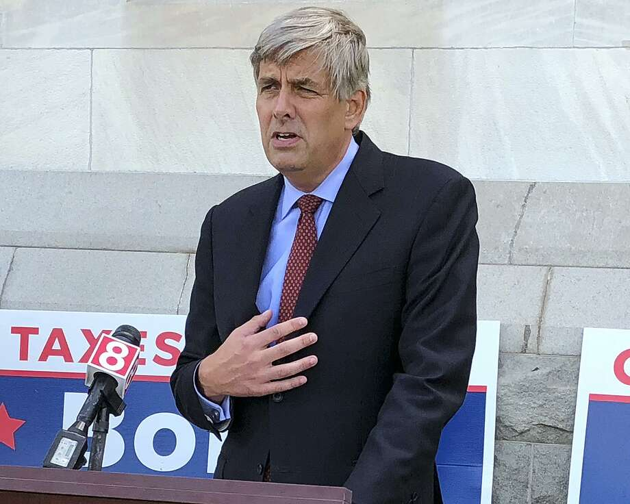 In this Thursday, Aug. 9, 2018 photo, Republican candidate for governor Bob Stefanowski speaks outside the Capitol in Hartford, Conn. Stefanowski won his party's gubernatorial nomination in the Aug. 14 primary and will face Democrat Ned Lamont in the November general election. (AP Photo/Susan Haigh) Photo: Susan Haigh / Associated Press / Copyright 2018 The Associated Press. All rights reserved.