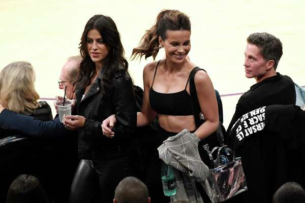 LOS ANGELES, CA - OCTOBER 20: Kate Beckinsale attends a basketball game between the Houston Rockets and Los Angeles Lakers at Staples Center on October 20, 2018 in Los Angeles, California. NOTE TO USER: User expressly acknowledges and agrees that, by downloading and or using this photograph, User is consenting to the terms and conditions of the Getty Images License Agreement.