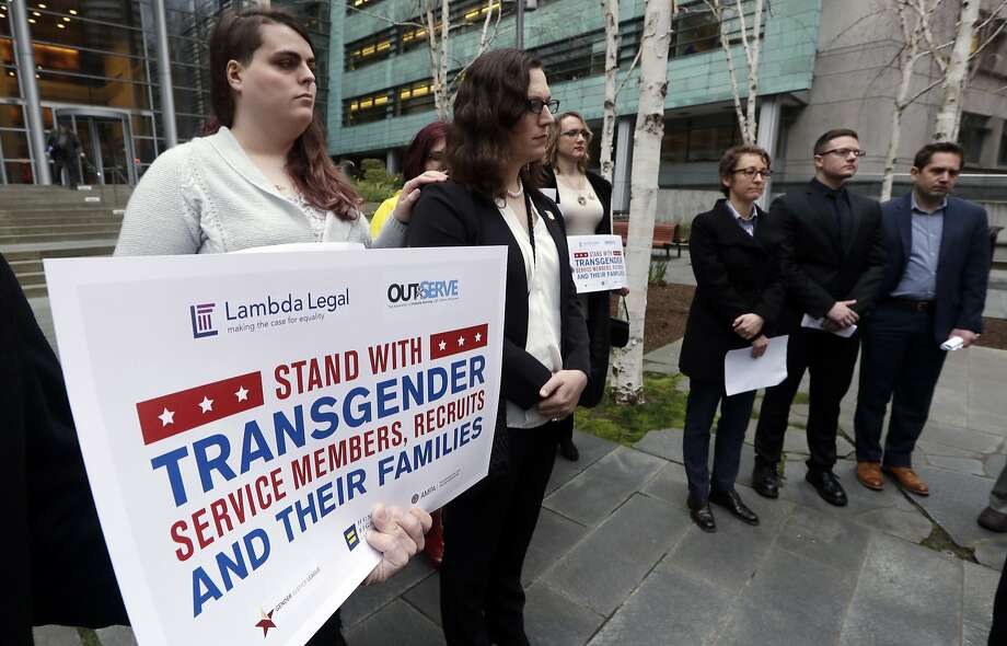 Transgender-rights activists are angered at moves by President Donald Trump and his administration to undermine gains achieved before his election. Trump is seeking to ban transgender people from military service, although that effort has stalled in court. Photo: Elaine Thompson, Associated Press