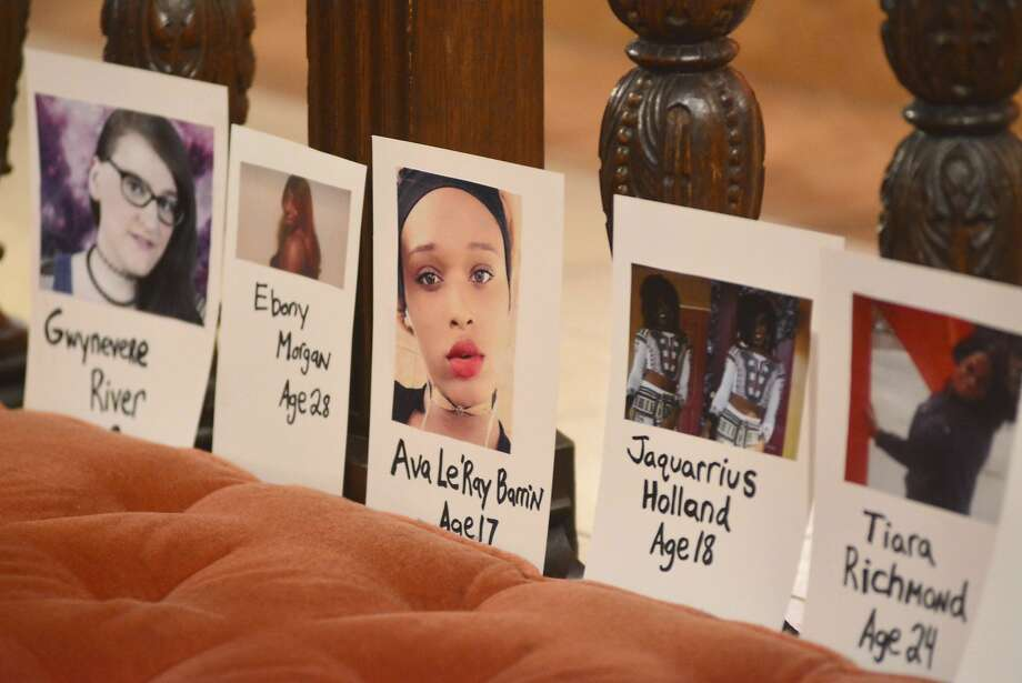 In this Thursday, Nov. 16, 2017 file photo, pictures of transgender people lost to violence earlier in the year are displayed during a Transgender Day of Remembrance vigil at St. Stephen's Episcopal Church in Pittsfield, Mass. For transgender Americans, 2018 has been marked by series of advancements and setbacks. Photo: Gillian Jones / Berkshire Eagle 2017