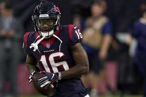 Houston Texans wide receiver Keke Coutee (16) before an NFL football game against the Dallas Cowboys, Sunday, Oct. 7, 2018, in Houston. (AP Photo/David J. Phillip)