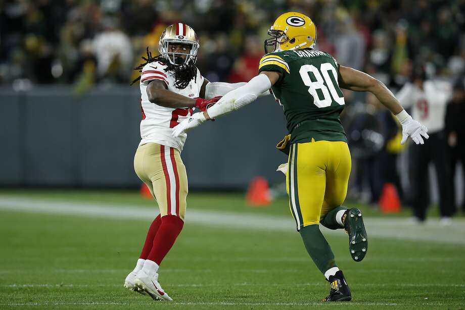 San Francisco 49ers cornerback Richard Sherman (25) lines up against Green Bay Packers tight end Jimmy Graham (80) during an NFL football game Monday, Oct. 15, 2018, in Green Bay, Wis. The Packers won 33-30. (Jeff Haynes/AP Images for Panini) Photo: Jeff Haynes / Associated Press