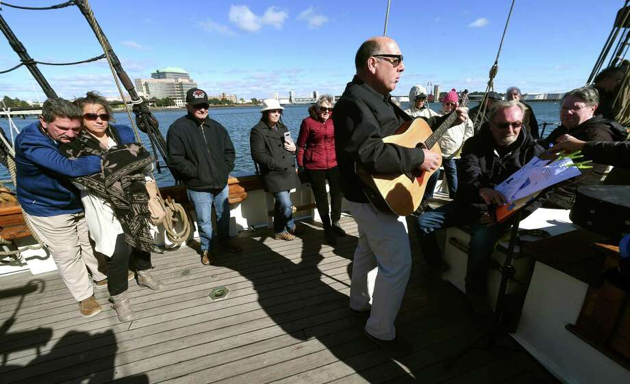 Laurence Capezzone performs during the North Branford Congregational Church's worship service aboard the Amistad in New Haven on October 21, 2018. Following the rebellion of enslaved Africans aboard the Amistad in 1839, Connecticut Congregationalists formed the Amistad Committee which was responsible for organizing a legal defense team for the enslaved Africans and later funding their return to Africa after a favorable Supreme Court ruling. Photo: Arnold Gold / Hearst Connecticut Media / New Haven Register