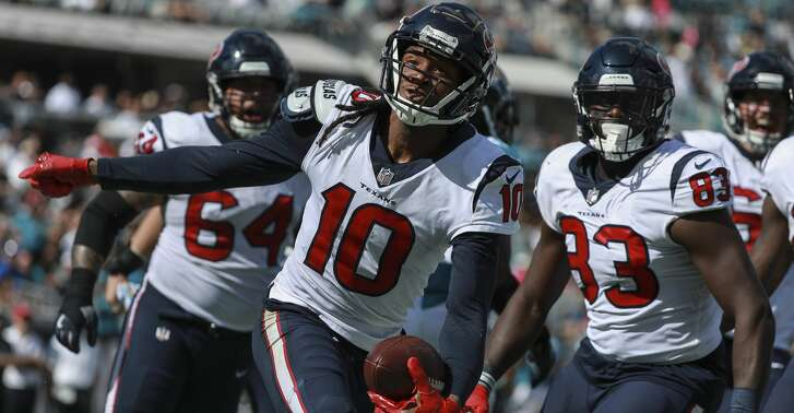 JACKSONVILLE, FL - OCTOBER 21: DeAndre Hopkins #10 of the Houston Texans celebrates his second half touchdown against the Jacksonville Jaguars at TIAA Bank Field on October 21, 2018 in Jacksonville, Florida.  (Photo by Scott Halleran/Getty Images)