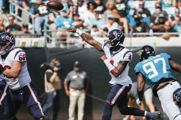 Houston Texans quarterback Deshaun Watson (4) throws a pass against the Jacksonville Jaguars during the second quarter of an NFL football game at TIAA Bank Field on Sunday, Oct. 21, 2018, in Jacksonville.