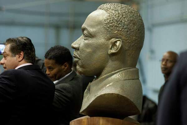 On the 50th anniversary of the assassination of Martin Luther King, Jr., a bust of him was unveiled during a ceremony at the Ansonia Armory in Ansonia, Conn., on Thursday Dec. 28, 2017. The bust was created by Ansonia resident Vasil Rakaj.